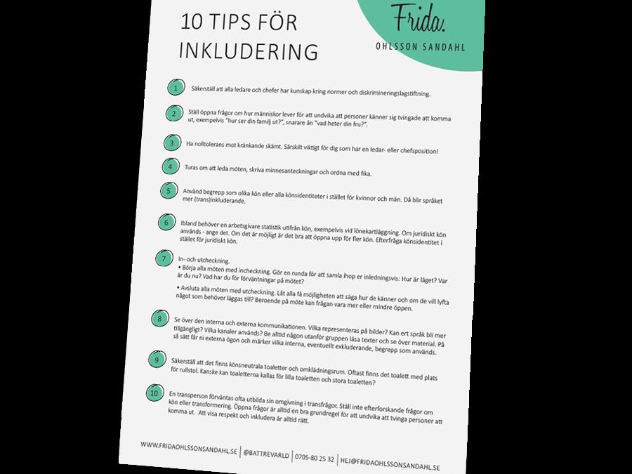 Frida Ohlsson Dahl ger 10 tip